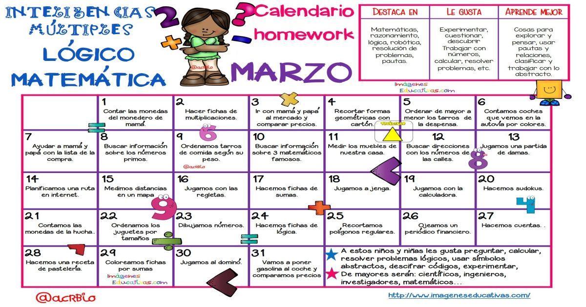 Calendario Homework Inteligencias Multiples Matematica Gran