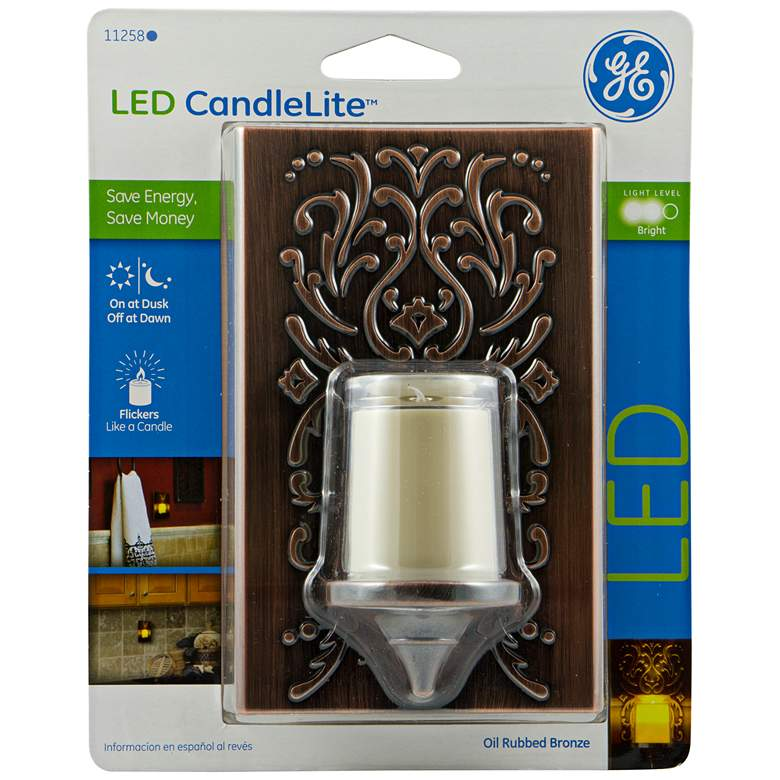 GE Plastic Faux Bronze Candlelight LED Night Light - #M7644 | Lamps Plus