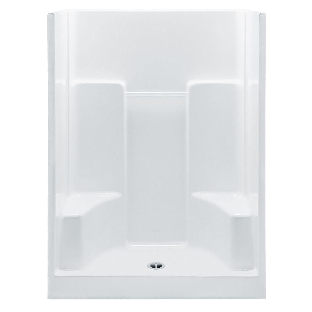 Aquatic Everyday 60 in. x 35 in. x 75 in. Center Drain 2-Seat 1-Piece Shower Stall in White
