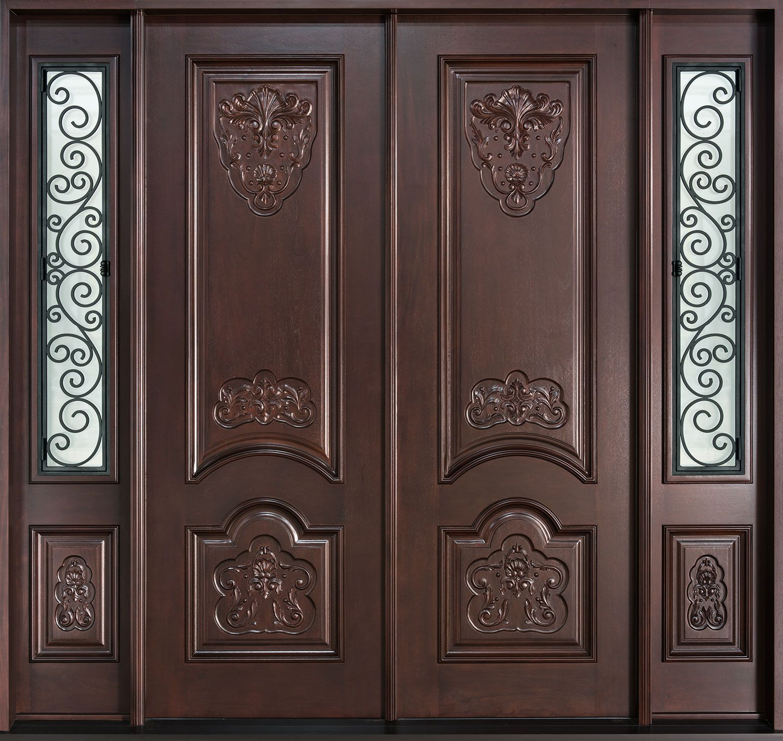 Mahogany solid wood front entry door double doors for Main double door design
