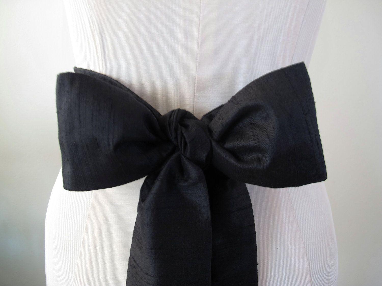 Black Dupioni Silk Sash Bow Belt Wedding Sash  short