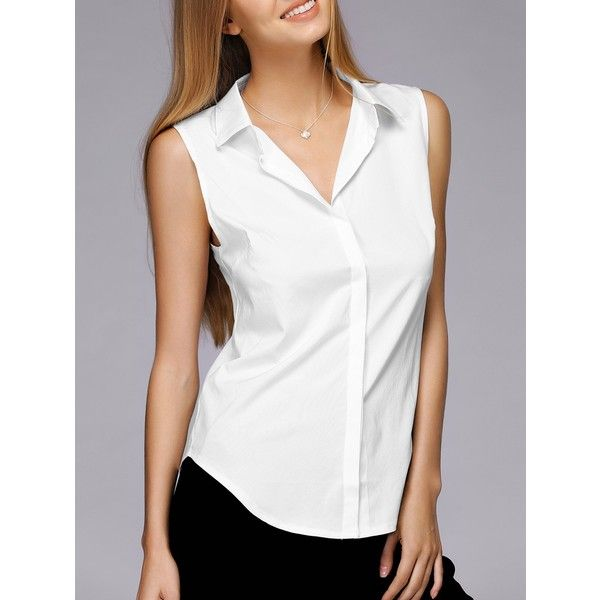 99290ef85aee Simple Design Shirt Collar Sleeveless Solid Color Shirt For Women (20 BAM)  ❤ liked on Polyvore featuring tops, sleeveless tops, sleeveless collared  shirt, ...