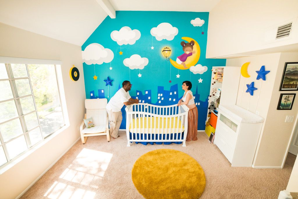 Project Nursery With Colorful Moon And Stars Mural