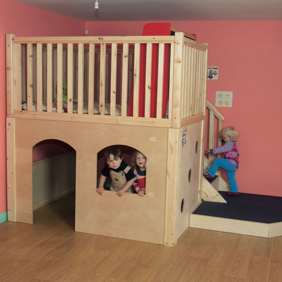 Indoor play loft lovely tts dens and canopies preschool for Kids bed with play area
