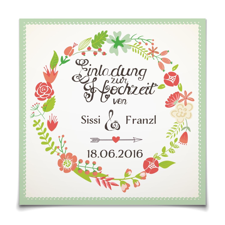 Hochzeitseinladung Blütenkranz in Koralle Postkarte quadratisch