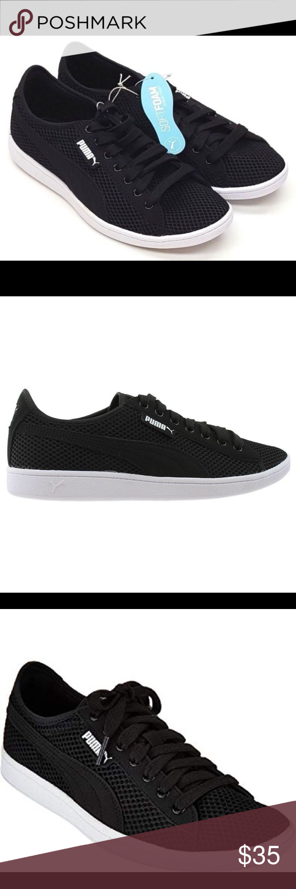 """59299a46e25f41 Puma """"vikky"""" mesh sneaker with Softfoam (memory foam) inside soles. Perfect  condition new with tags. Black. Women s 8 Puma Shoes Sneakers"""