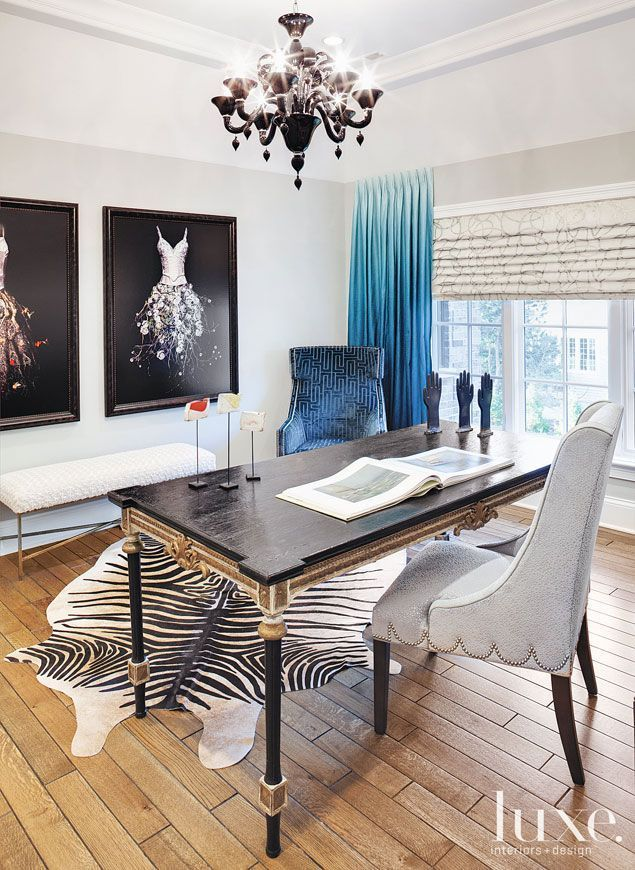Beautiful Living Rooms and Offices Chair scallop detail and ombré curtains.