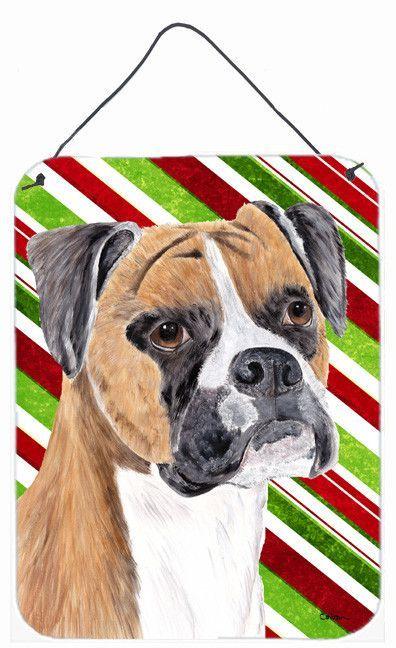 Boxer Candy Cane Holiday Christmas Aluminium Metal Wall or Door Hanging Prints