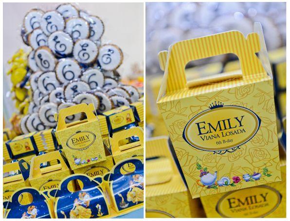 Personalizados para festa infantil com tag nome da criança e identidade visual Bela e a Fera - Emily - 6 anos