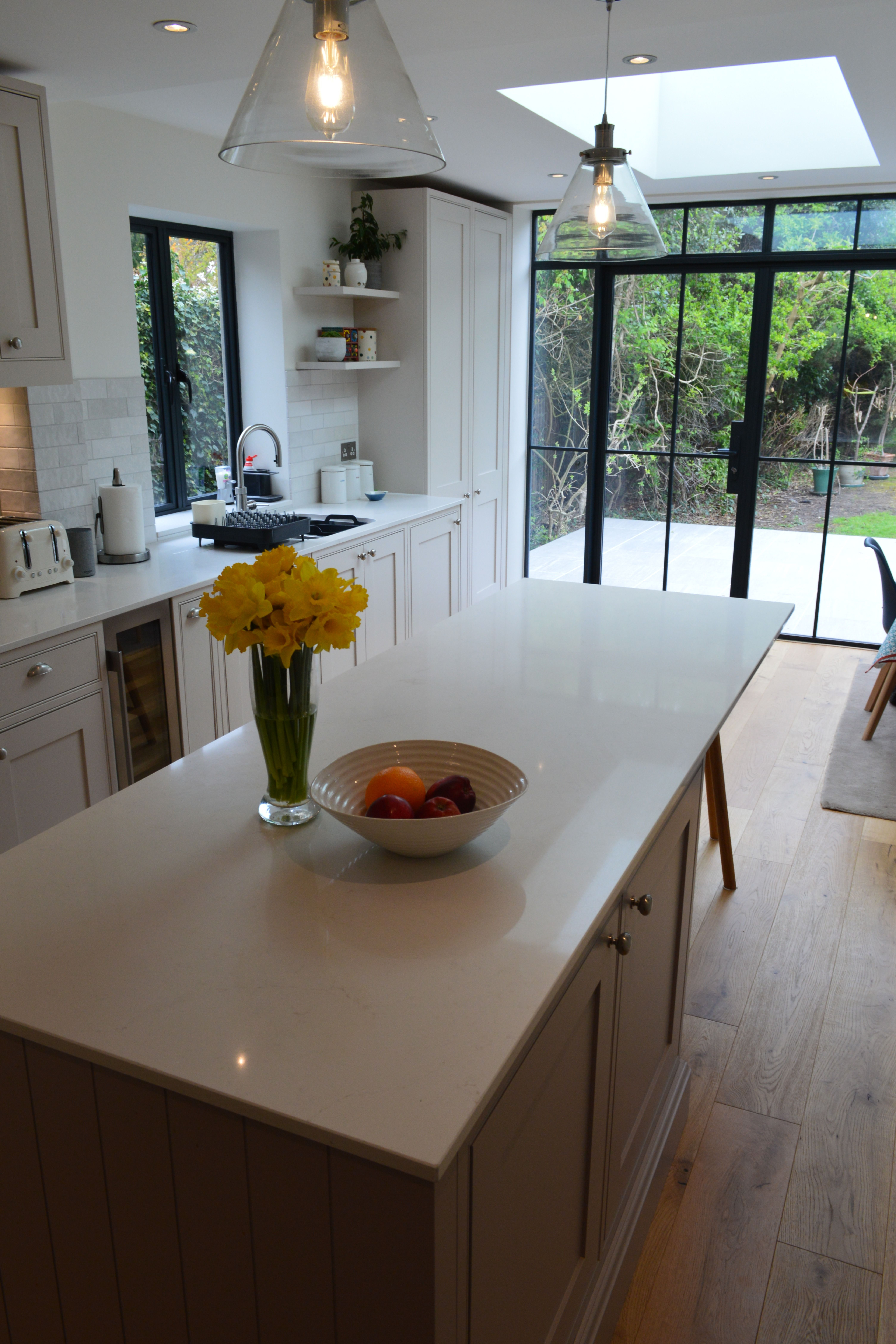 Inframe Painted Kitchen with Island and Caesarstone