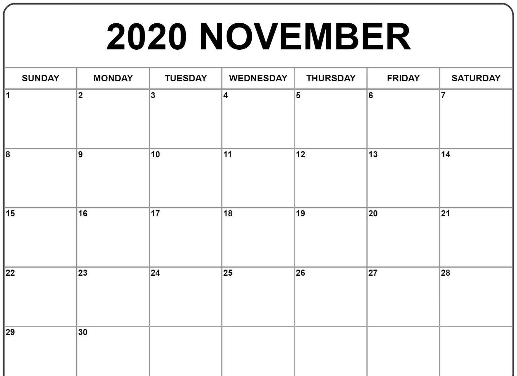 Exceptional 2020 Calendar For November Calendar Template Editable Calendar Calendar Printables