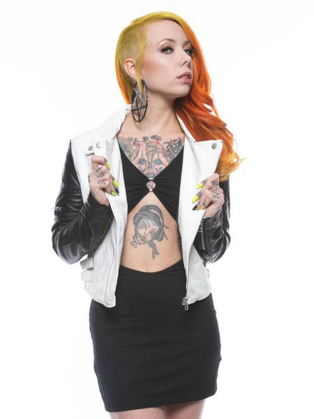 Lip Service's black and white veggie leather motorcyle style jacket