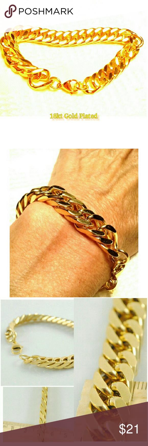 kt gold pltd stainlss steel unisex bracelet boutique jewelry
