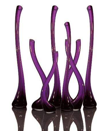 Amethyst and black spindle vases from Tsunami Glassworks.
