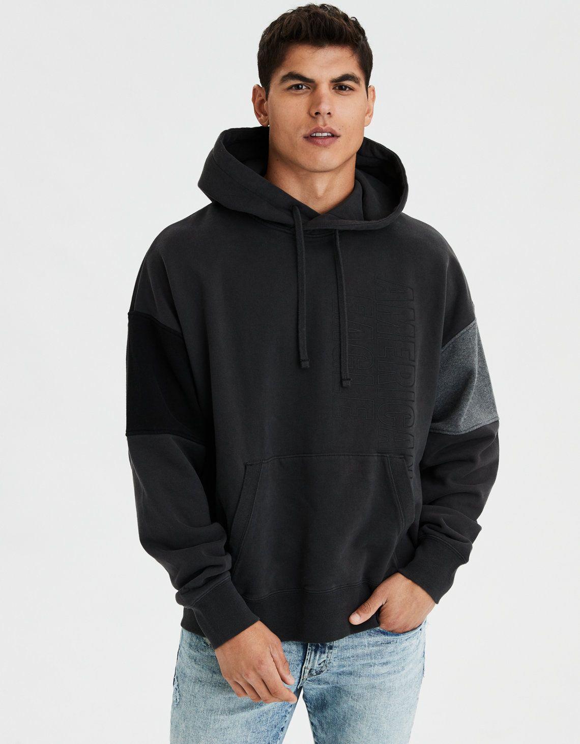 Ae Drop Shoulder Colorblock Hoodie Mens Outfitters Hoodies Drop Shoulder Hoodie [ 1462 x 1140 Pixel ]