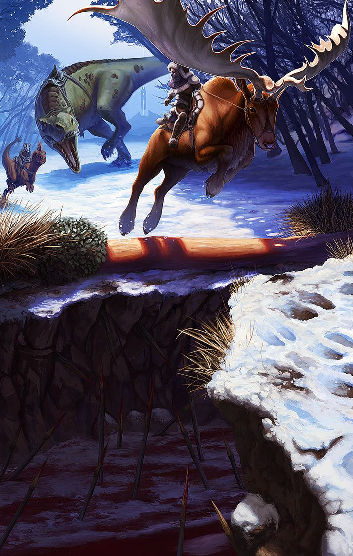 A megaloceros and it's rider are chased down in the snowy hills by a group of hunters, an easy kill, or so the hunters thought.