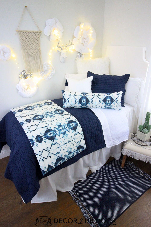 Navy Ombre Dorm Bedding Set Dorm Bedding Sets Dorm Bedding White Dorm Room