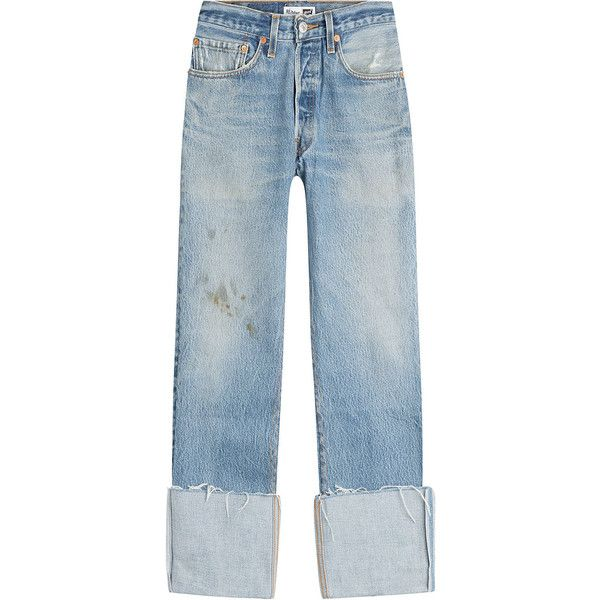 RE/DONE Distressed Cropped Jeans (€345) ❤ liked on Polyvore featuring jeans, bottoms, clothing - trousers, pants, blue, distressed cropped jeans, destroyed jeans, destructed jeans, blue ripped jeans and blue jeans