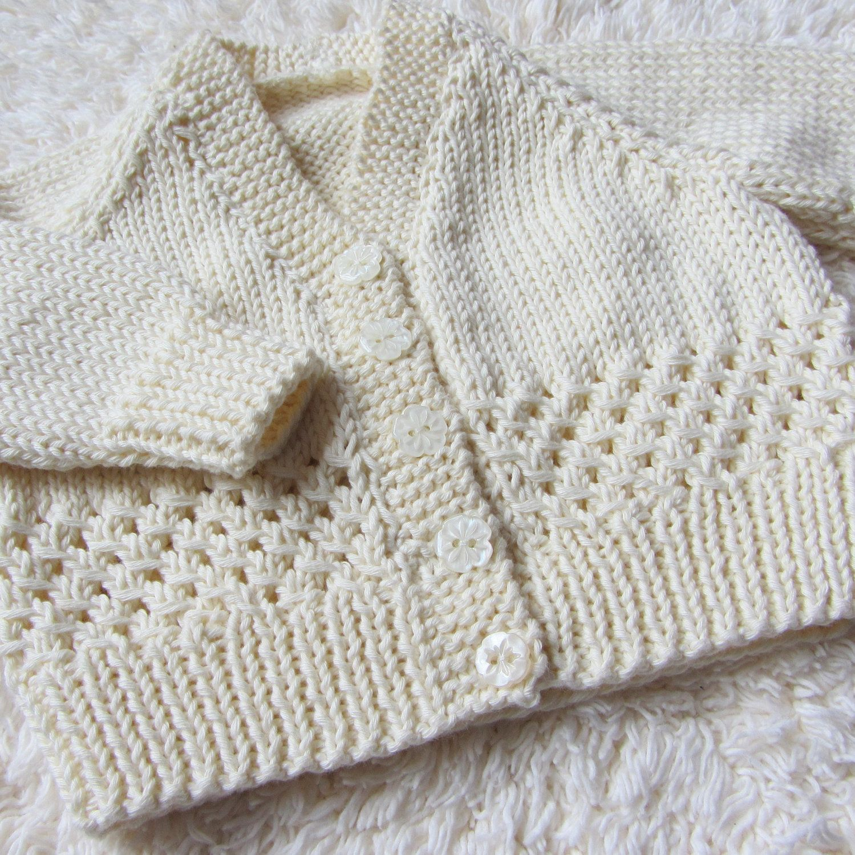 Hand Knit Cotton Baby Cardigan. $30.00, via Etsy. | TEJIDOS BEBE ...