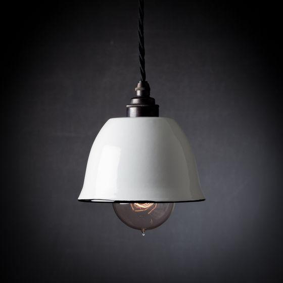 Enamel Lampshade, Edison Filament Lightbulb