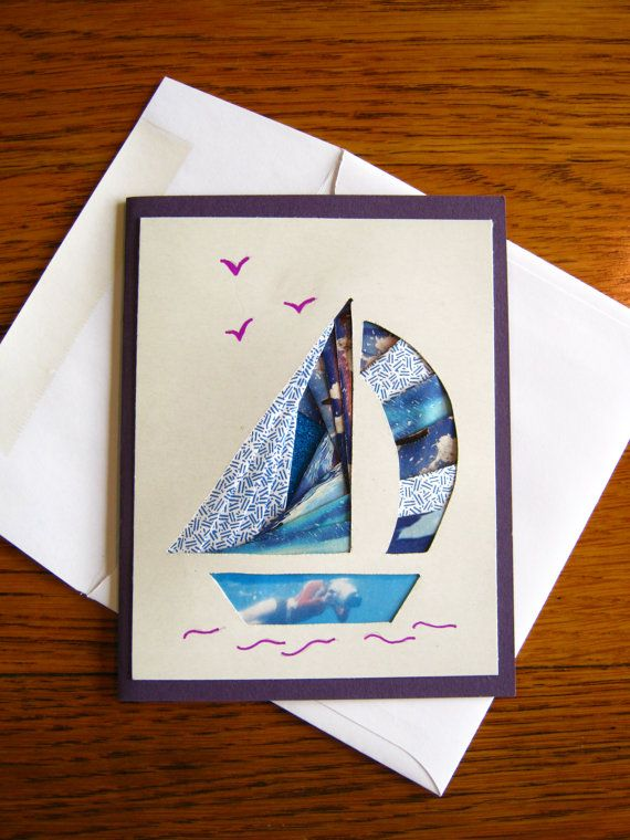 Homemade Iris Fold Blue Sailboat Note Card by BjwHomemadeWithLove