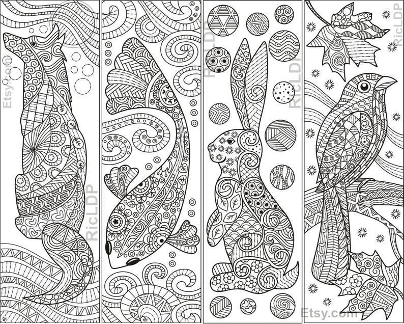 Set of 8 Animal Zentangle Coloring Bookmarks Fish Cat Dog