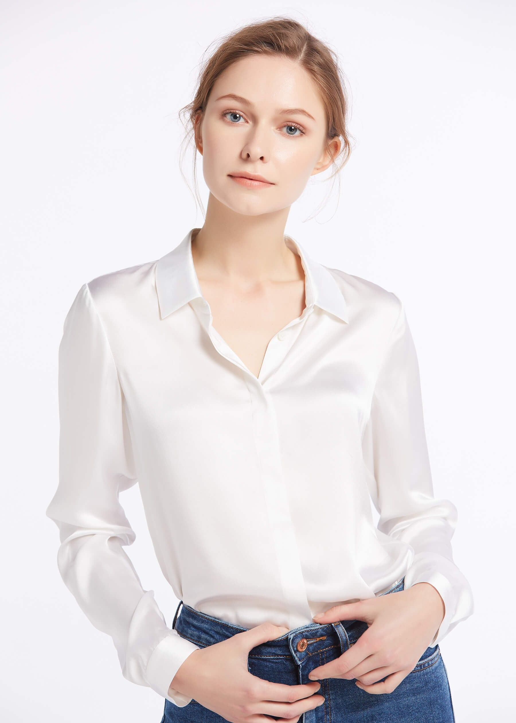 40d18f68ec34f Basic Concealed Placket Silk Shirts in 2019