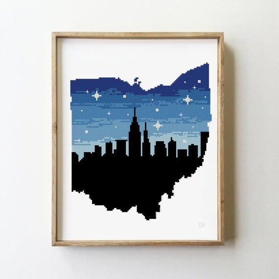 Cleveland Ohio Counted Cross Stitch Pattern Skyline