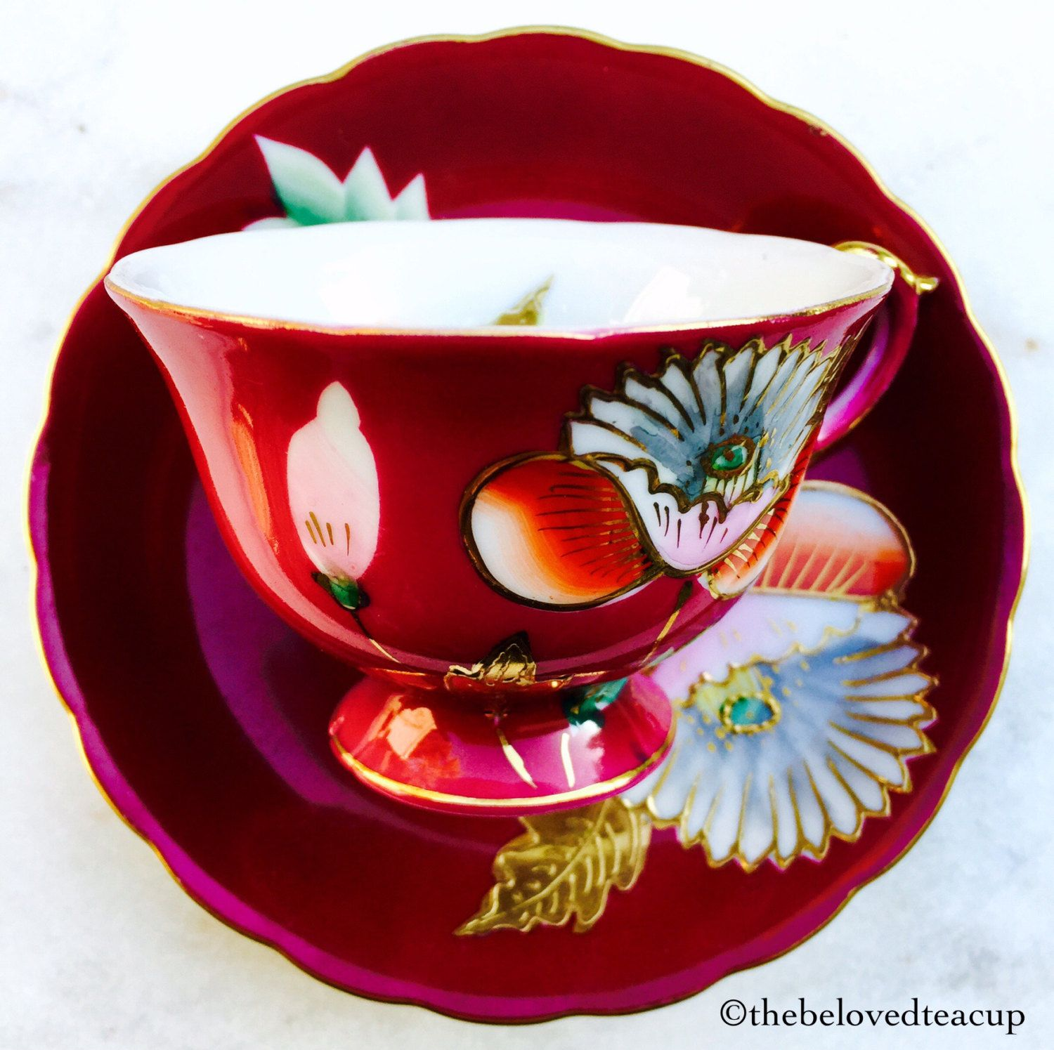 Royal albert bone china tea cup amp saucer winsome pattern ebay - Occupied Japan Trimont Ruby Red Floral Demitasse Teacup And Saucer