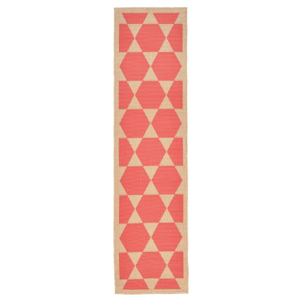 "Terrace Indoor/Outdoor Agra Tile Coral Rug 23""X7'6"" Orange - Liora Manne"