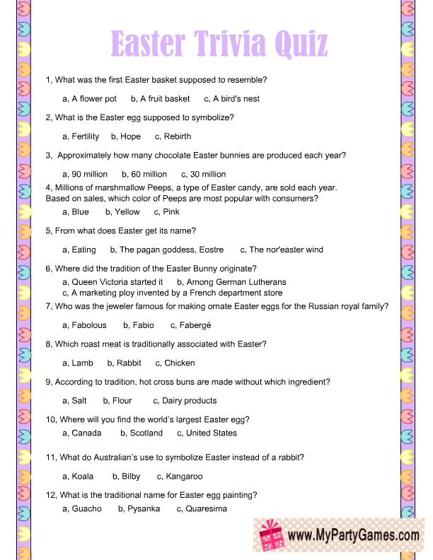 photograph about Easter Trivia Printable referred to as Cost-free Printable Easter Trivia Quiz Humorous Quotation within 2019