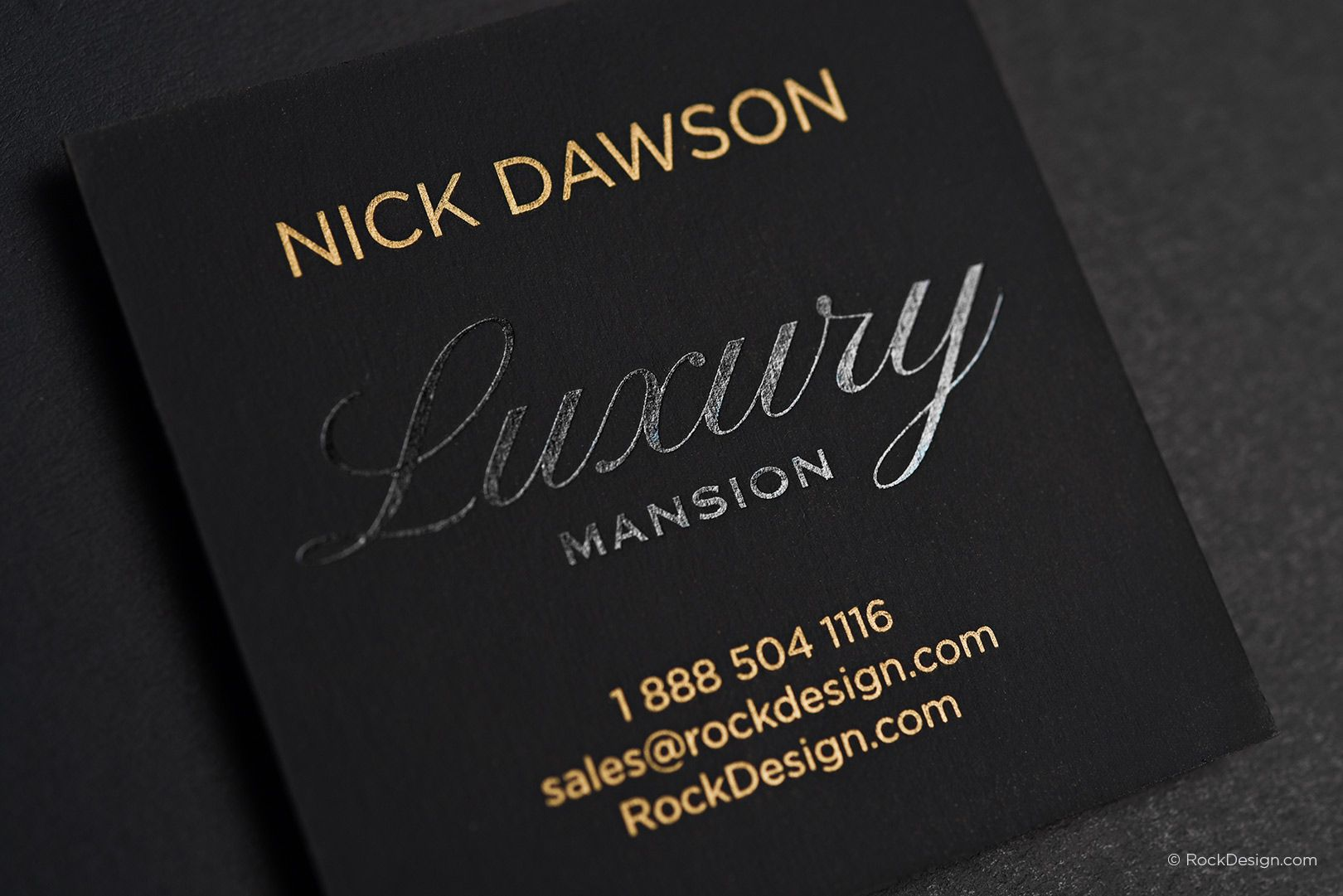 Modern luxury square business card with metallic gold ink - Nick ...