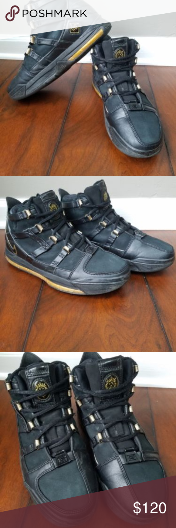 27ebb4737b644a Nike Zoom Lebron 3 Black Gold Sneaker Sz 8 Great shape shoes! Black and Gold  Nike Zoom Mettalic Gold Lebron 3 High Top Basketball sneakers. Size Mens 8.