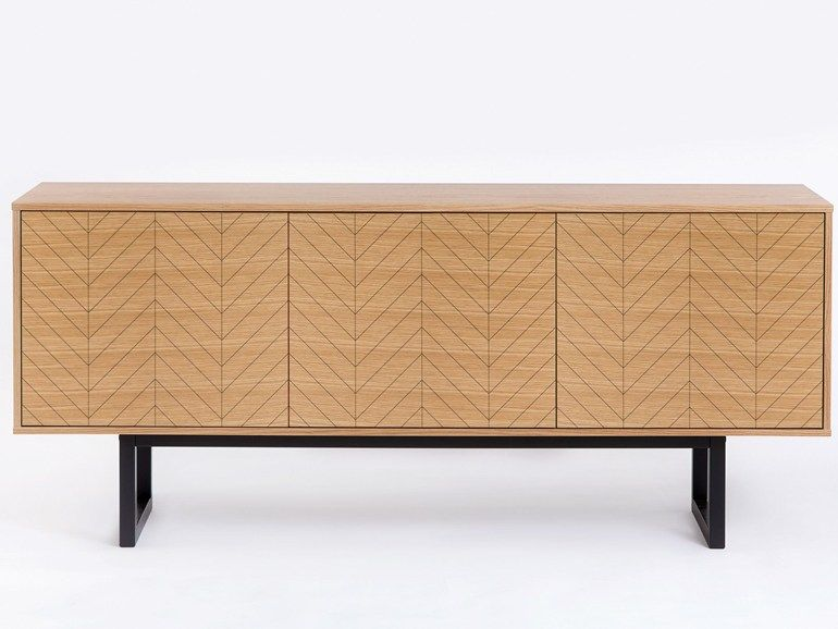 wooden sideboard with doors camden herringbone print by woodman, Möbel