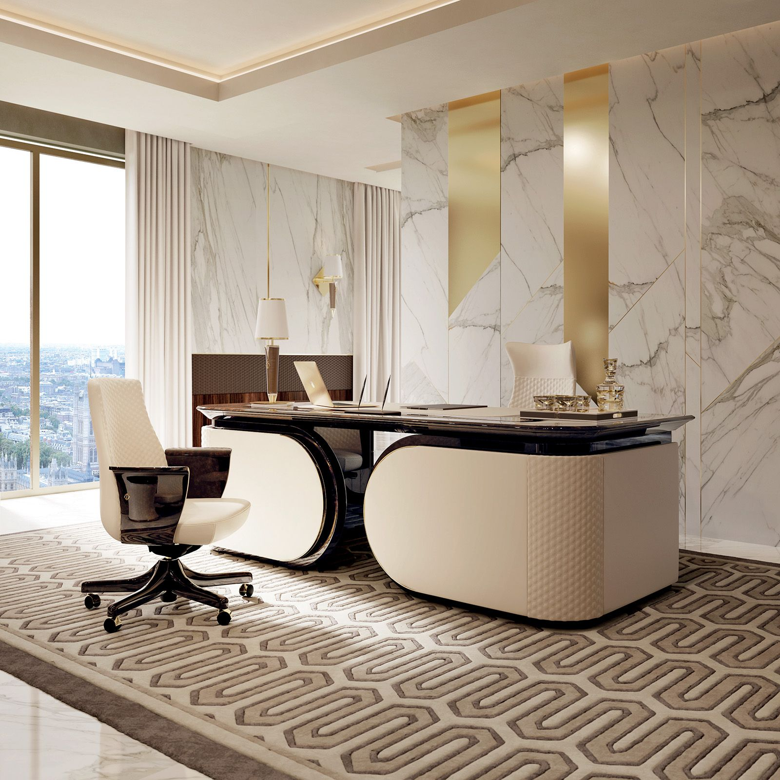 Superbe Exclusive Modern Desk Perfect For A Home Office Contrasting Perfectly With  A Marble Like Luxurious
