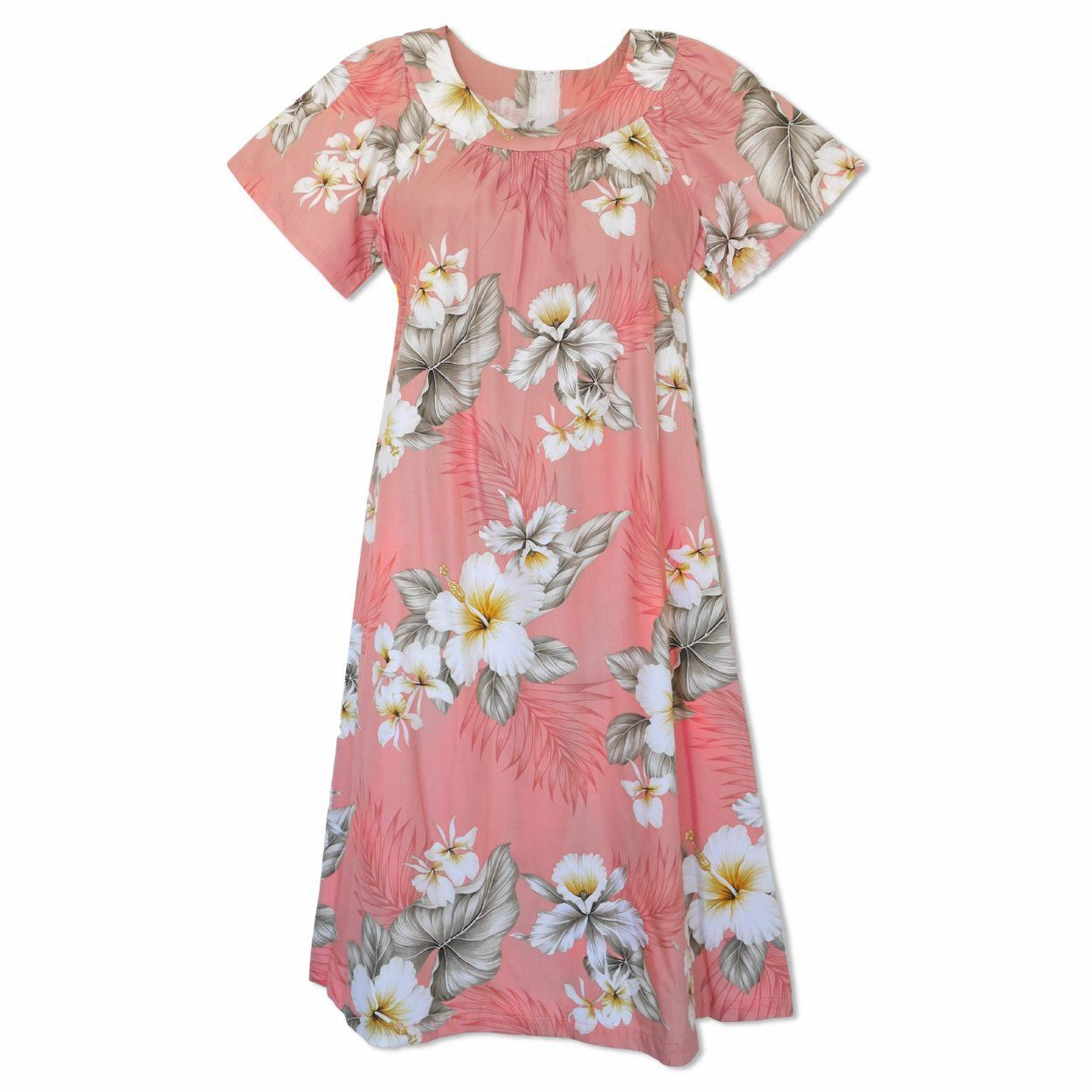 Hibiscus Joy Pink Cotton Hawaiian Muumuu Dress