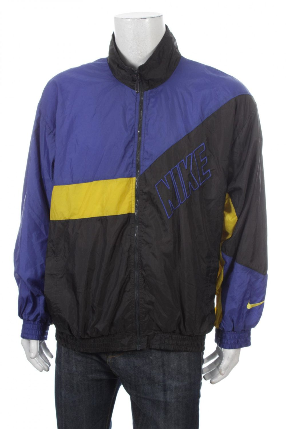 VINTAGE 90S Nike Swoosh Windbreaker Spell Out Big Logo Color Block  Blue Yellow Black SizeXL by VapeoVintage on Etsy a7905f2f37