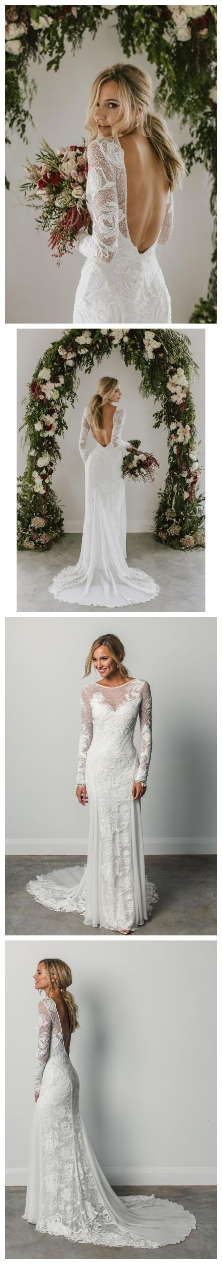 Long sleeve ivory rustic lace wedding dresses backless beach wedding