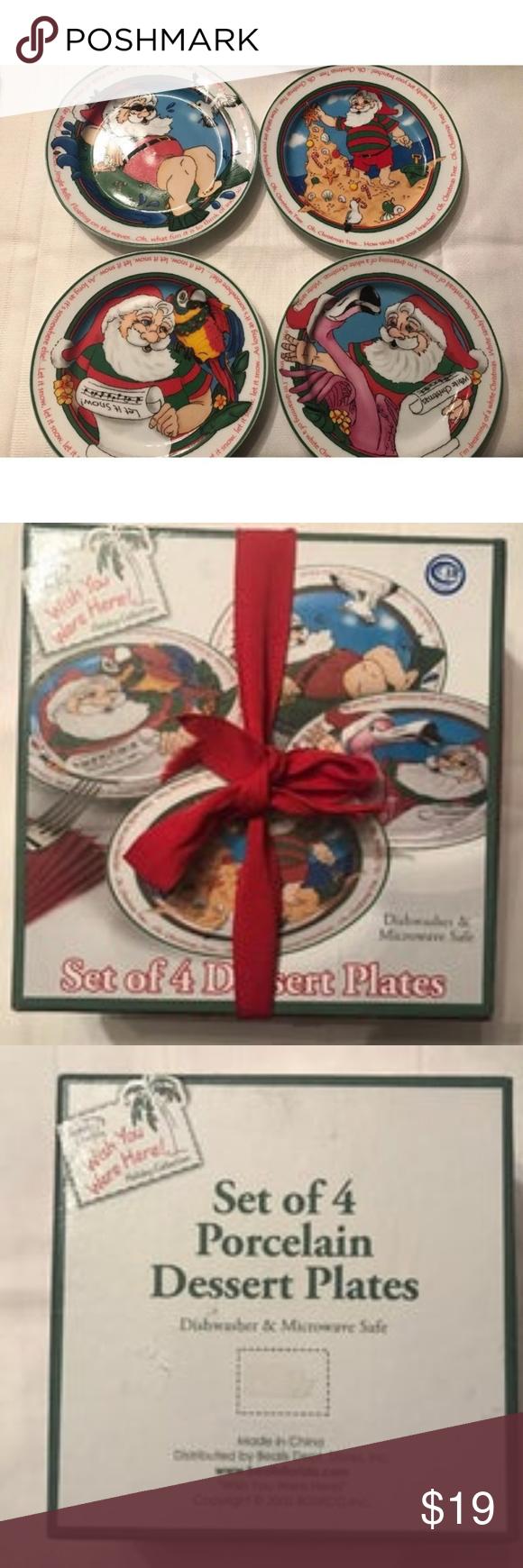 Set Of 4 Beach Santa Holiday Dessert Plates | Holiday ...