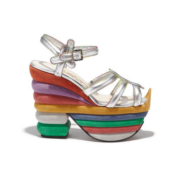 Rainbow 2 sandal (2,370 CAD) ❤ liked on Polyvore featuring shoes, sandals, colorful shoes, rainbow sandals, rainbow shoes, multi colored shoes and cork sandals