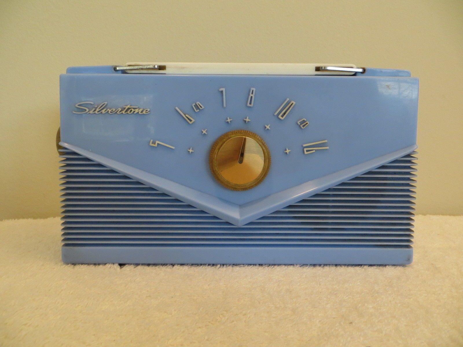 "Vintage 1950s Silvertone Jetsons "" Flying V "" Old Jet Age Blue Plastic Radio   eBay"