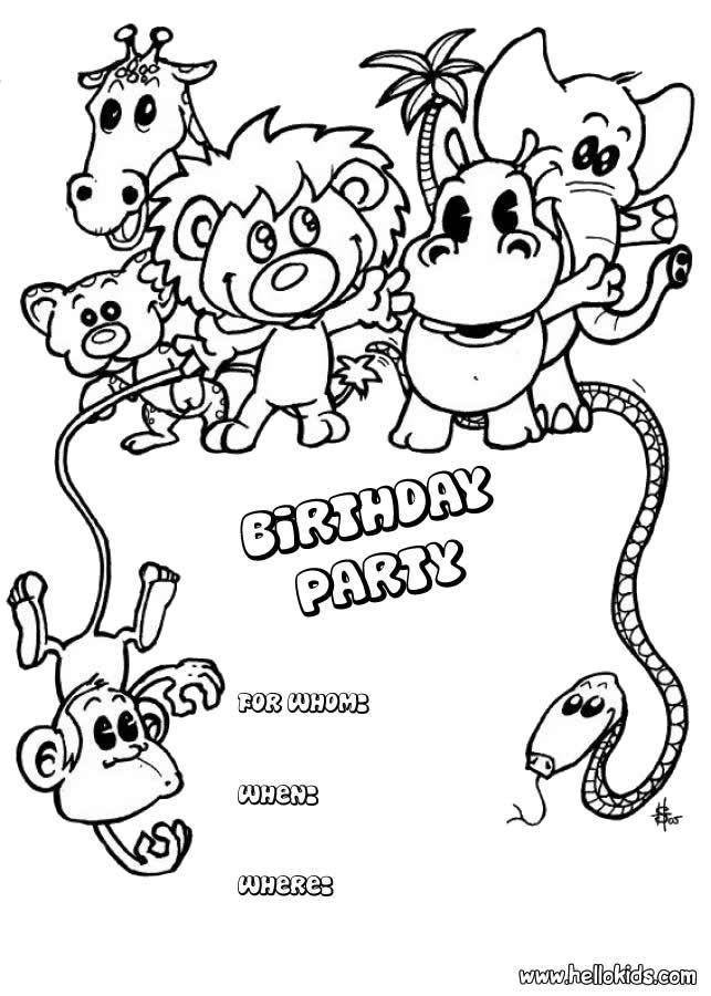 BIRTHDAY CARDS Coloring Pages Animals Birthday Party Invitation ...