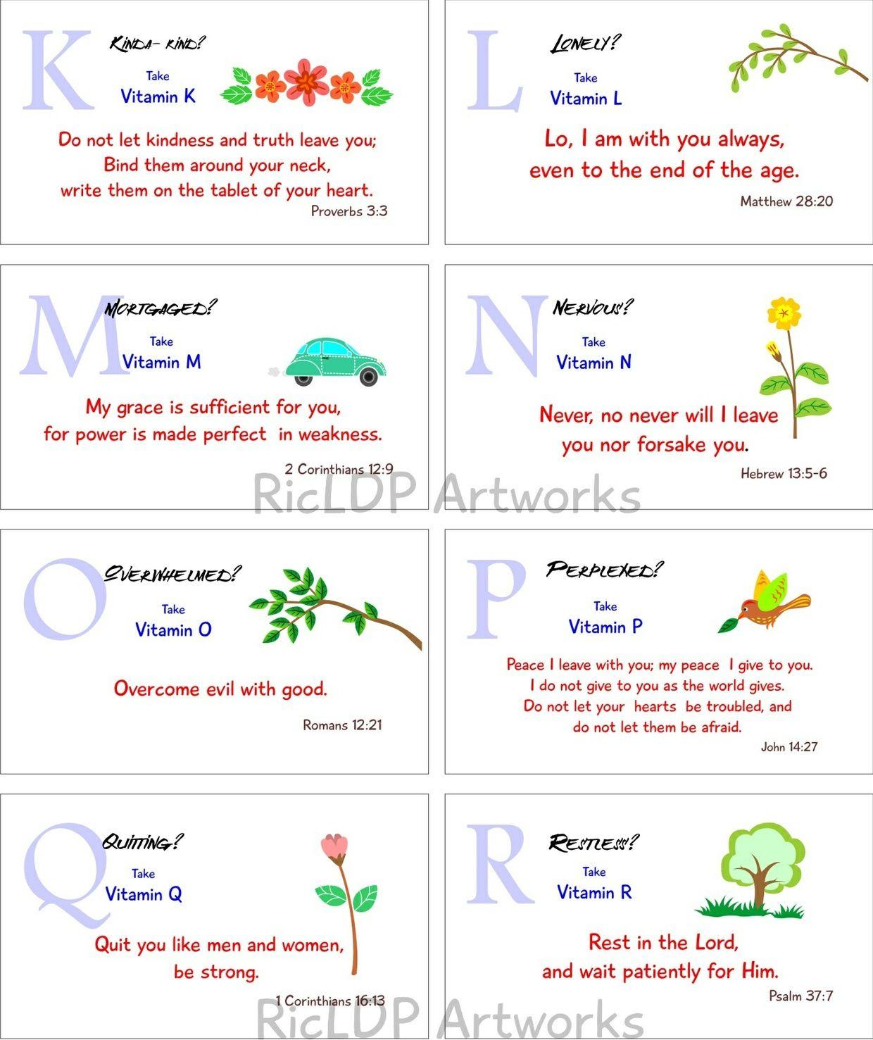 Printable bible verse cards spiritual vitamins a to z