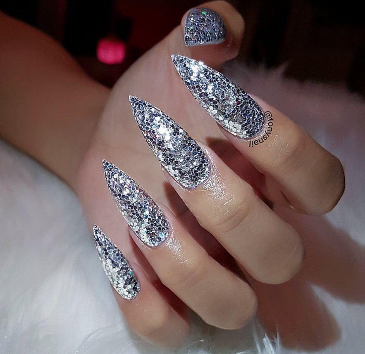 Custom long silver glitter stiletto nails | Nails ...