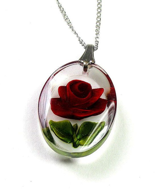 Vintage sterling silver rose necklace getting out ready to where vintage necklace vintage jewelry sterling silver chain red rose necklace crimson pendant necklace romantic jewelry valentines day mozeypictures Choice Image