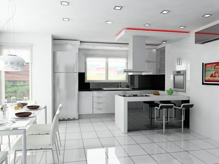 Cocinas blancas de diseño moderno - 50 ejemplos Diseño de cocina