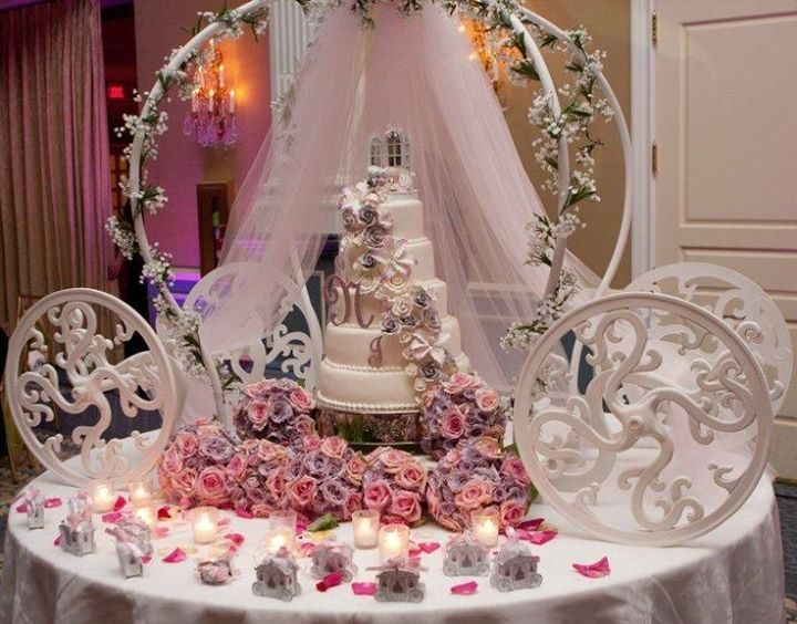 This cake table dcor is perfect for a Cinderella theme