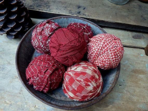 Red Decorative Balls Red Homespun Rag Balls Bowl Fillers Fabric Balls Decorative