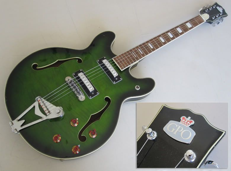 guitar blog teisco gpo semi hollowbody in green flame following on from yesterday s post featuring an outrageously over priced ese made teisco guitar today i
