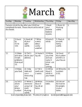 March Homework Calendar For Kindergarten  Homework Calendar
